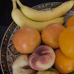 fruitschaal, banaan, grapefruit, wilde perzik, sinaasappel