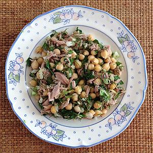 Kikkererwten/tonijnsalade