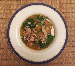 spinazie en zoete aardappel curry